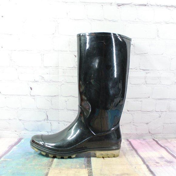 COACH Glossy Black Tall Rubber Rain Boots Size 9